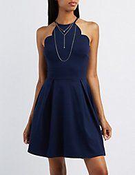Blue Scalloped Bib Neck Skater Dress