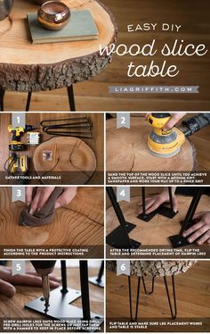 DIY Wood Slice Table - how to make your own trendy and rustic table - DIY furnit. - DIY Wood Slice Table – how to make your own trendy and rustic table – DIY furniture project - Diy Furniture Projects, Diy Wood Projects, Repurposed Furniture, Rustic Furniture, Furniture Makeover, Woodworking Projects, Outdoor Furniture, Furniture Plans, Antique Furniture