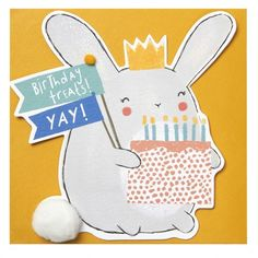Bunny die-cut birthday card