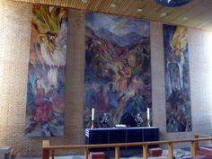 Strandmarkskirken, Hvidovre. Alterbilleder af Bodil Kaalund 1987.  3 motiver: Mariæ Bebudelse, Jesu Bjergprædiken, Englen vælter stenen fra graven