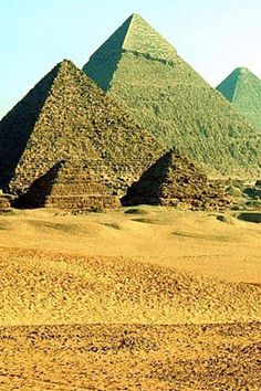 This is a fantastic photo of the pyramids at Giza. These three pyramids were the culmination of a long process of trial and error in the search for the mathematically perfect pyramid. The three pyramids also mirror the three stars that make up Orion's belt. They were originally covered with a white plaster, however today only the cap of largest remains.