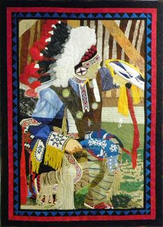 Koshare Indian Dancer - Group quilt made with the Amazing Eight.  Owner of this wonderful piece of art.