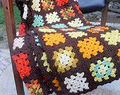 ON SALE Vintage Granny Square Quilt . 1970s Orange Green Brown