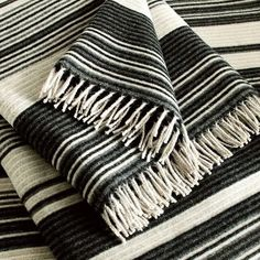 Missoni Federico Black, Cream and Grey Striped Wool Throw