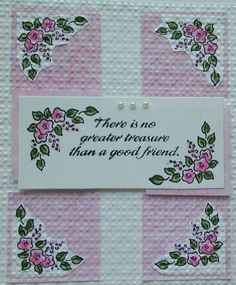 RARE Stampin up stamp CORNER FLOWER BORDER delicate posies & leaves spray SU #Stampinup