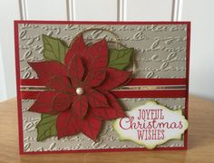 Stampin Up handmade Christmas card - joyful red and gold poinsettia