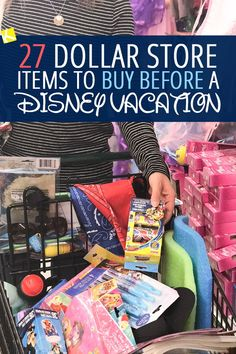 I am completely SHOCKED that the dollar store has so much Disney stuff!!! I am stocking up before our Disneyland trip this summer! 27 Dollar Store Items to Buy Before a Disney Vacation