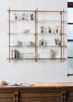 Open Kitchen Shelves using our Collector's Shelving System with Glass Shelves. The hint of green from the glass mixed with the brass finish make for a perfect duo! Brass Shelving in the kitchen is key. Diy Cupboards, Glass Shelves Kitchen, Floating Shelves Bathroom, Kitchen Cabinets, China Cabinets, Dark Cabinets, Green Cabinets, Kitchen Rack, Kitchen Flooring