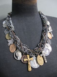 Statement Necklace - Salvaged Divinity No.10 - Upcycled and Antique Saint Medals on Woven Chains on Etsy, $248.00
