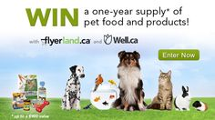 You should enter Win a year's worth of pet food and products!. There are great prizes and I think one of us could win!