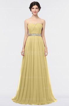 Gold Elegant A-line Strapless Sleeveless Half Backless Bridesmaid Dresses  is available at colorsbridesmaid. d71083c5e15e