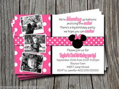 Minnie mouse birthday party ideas invitation