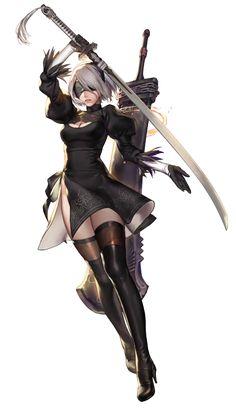 Fanart of Nier:automata Female Character Design, Game Character, Character Concept, Fantasy Characters, Female Characters, Anime Characters, Anime Fantasy, Fantasy Girl, Katana Anime