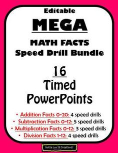 MEGA Math Facts Fluency BUNDLE (16 Timed PowerPoints) for Addition, Subtraction, Multiplication, and Division ~*~EDITABLE  - TeachersPayTeachers.com
