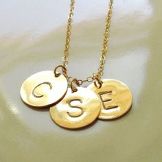 Three 3 Discs Initial Necklace Hand Stamped Gold by PamelaCurran, $58.00