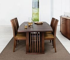 Walnut lacquered contemporary dining table