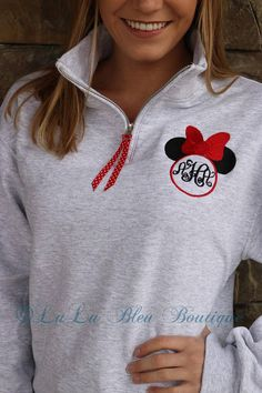 Minnie Mouse Monogram Disney Sweatshirt, Women's Zip up, Unisex Quarter Zip, Monogram Pullover Welcome to LuLu Bleu Boutique! These blend Minnie Mouse monogram zip ups are the perfect addition to any Disney lovers wardrobe! *Note that these are UNIS Disney Sweatshirts, Disney Shirts, Disney Outfits, Cute Outfits, Disney Clothes, Disney Costumes, Disney Fashion, Minnie Mouse Clothes, Disney Sweaters