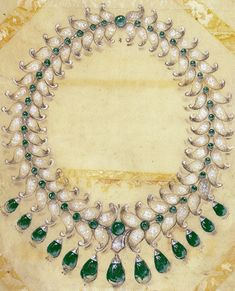 Van Cleef & Arpels necklace special order book page by the Maharani of Baroda, 1950, Van Cleef & Arpels' Archives
