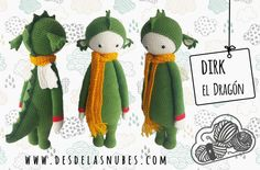 Dirk el dragón muñeco de ganchillo hecho con el por DesdelasNubes  Crochet amigurumi  www.desdelasnubes.com
