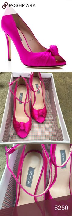 SJP by Sarah Jessica Parker Heels with knot Adorable SJP by Sarah Jessica Parker Hot Pink heels with knot detail. Gorgeous to wear to a party. New with out box. SJP Shoes Heels