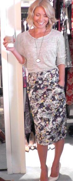 Kelly Ripa in a Rag & Bone top and Erdem skirt.