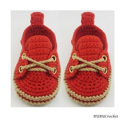 Crochet baby sneakers Red Baby Shoes Crochet Baby by BUBUCrochet