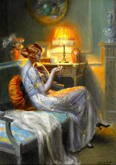 Elegant Lady with Pearl Necklace by Delphin Enjolras