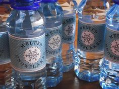 "Greatfun4kids: Snowflakes & Skating: Ice Princess Party - ""Melted Snowflakes"" Water Bottles (printable labels)"