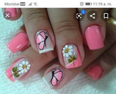 Butterfly Nail Designs, Butterfly Nail Art, Fancy Nails, Pretty Nails, Nail Polish Designs, Nail Art Designs, Nails Design, Spring Nails, Summer Nails