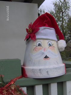 holiday pots, I used terra cotta pots to come up with this idea, santa with a little flower pot base, Holiday Project