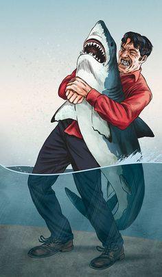 Jaws the shark vs Jaws from James Bond James Bond, Jaws Movie, Jaws 1, Shark Art, Arte Horror, Great White Shark, Film Serie, Illustrations, Haha Funny