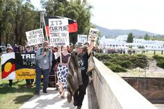 March in March rally in front of Parliament House in Canberra. Photo: Alex Ellinghausen