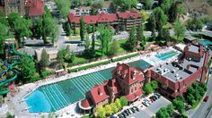 Glenwood Springs, Colorado.  The natural hot springs are fantastic.  You can't tell from this photo, but it's surrounded by mountains.