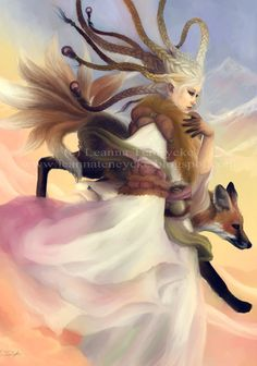 5x7 Ninetailed Fox Goddess Kitsune Digital Art by bytheoakArt, $12.00