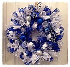 Items similar to Blue Merry Christmas Deco Mesh Wreath/Merry Christmas Wreath/Christmas Wreath/Blue Wreath on Etsy Merry Christmas Sign, Silver Christmas, Christmas Crafts, Christmas Decorations, Christmas Ornaments, Christmas Villages, Victorian Christmas, Christmas Trees, Vintage Christmas
