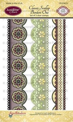 """JustRite Papercrafts Classic Scallop Borders One - 4"""" x 6"""" Clear Stamp Set designed by Amy Tedder."""