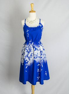 Vintage 80's Strappy Blue & White Hawaiian Sun Dress by madvintage