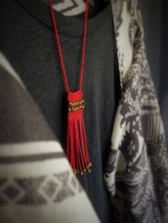 Woven Boho necklace Red Fringe necklace Hippie Waxed cord