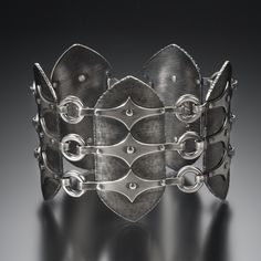 Bracelet | Donna Vervrka. 'Link Shield'. Sterling silver, hand-forged and oxidized