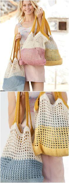 Crochet Pattern for a Beach Bag - Crochet Bag Pattern - # . Crochet pattern for a beach bag - Crochet Bag Pattern - # for # crochet pattern Crochet necklace ideasHow to Join a New Ball of Yarn . Bag Crochet, Crochet Market Bag, Crochet Purses, Crochet Clothes, Crochet Stitches, Free Crochet, Crochet Hats, Knit Bag, Crochet Baskets