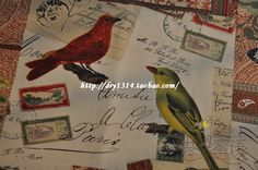 纯棉布料精纺环保活性帆布复古手绘图案手工DIY英文字鸟AB版加厚-淘宝网全球站