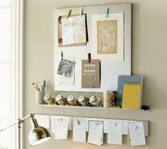 Want to create this look in the kitchen - hanging magnetic board and shelf below