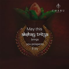 Celebrate the auspicious occasion of Akshaya Tritiya. We wish you a prosperous Akshaya Tritiya. #Akshaytritiya#CharmingCharu #jewellery #bangles #finejewellery #luxurylife #handgoals #designerjewelry #jewelryjunkie #jewelryaddict #diamondsareforever #diamonte #diamondlife #yourlook #ColourYourSenses