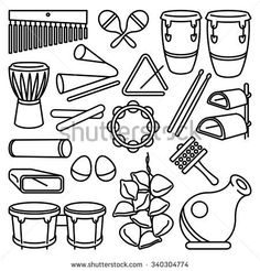 Vector drawing of a set of Latin Music Percussion Instrument.-Vector drawing of a set of Latin Music Percussion Instruments. Band Camp, Latin Music, Music Icon, Photo Illustration, Musical Instruments, Vector Art, Musicals, Stock Photos, Drawings
