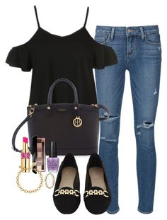 """Untitled #2672"" by abigailtaylor ❤ liked on Polyvore featuring Paige Denim, Topshop, Henri Bendel, Carvela Kurt Geiger, Yves Saint Laurent, Bobbi Brown Cosmetics, OPI, Kate Spade and Pandora"