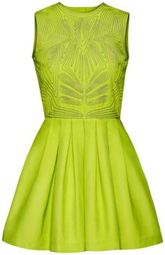 Neon green mini dress with a pleated skirt from H & M's  new line Conscious Collection. So exciting!