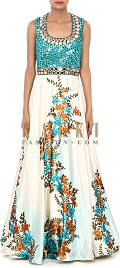 Buy Online from the link below. We ship worldwide (Free Shipping over US$100) Price- $439 Click Anywhere to Tag http://www.kalkifashion.com/cream-anarkali-suit-embellished-in-mirror-and-resham-embroidery-only-on-kalki.html