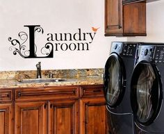Laundry Room Vinyl Lettering with Bird - Vinyl Decal - Vinyl Wall Art