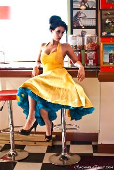 Yellow 1950's style dress love this for nautical wedding im going to