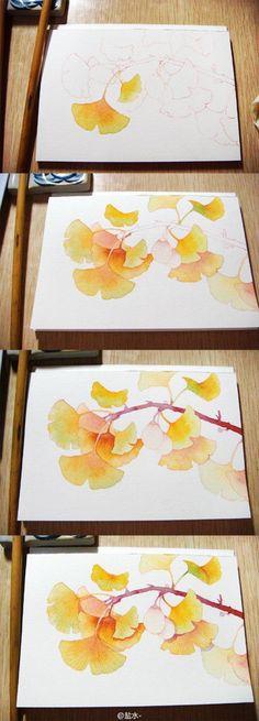 【绘画教程】水彩教程 盐水— 银杏叶的画法,银杏长起来的叶子可漂亮了。